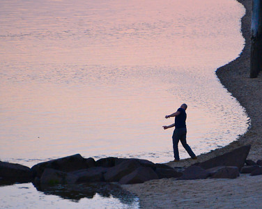 Skipping Stones at Sunset - Provincetown Harbor